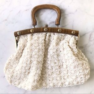 Vintage Wood Handle Ivory Crochet Handbag